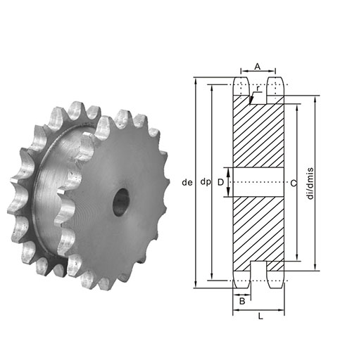 American  Cost  China Standard Double Sprocket for Two Single Chains 60