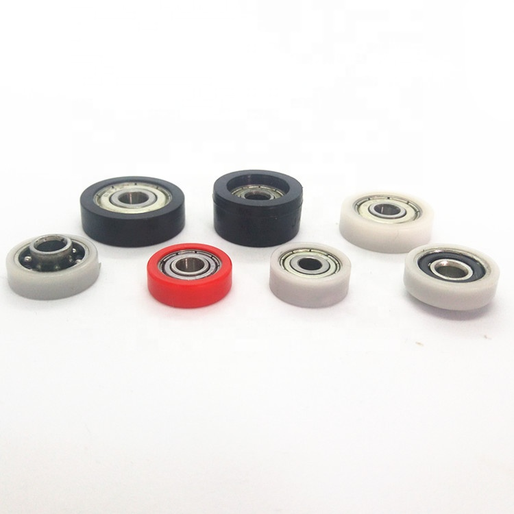 Hot  best quality sale plastic nylon pom flat belt idler pulley roller wheel with bearing for machines