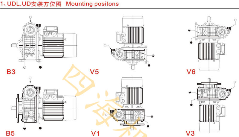speed variator reducer UD combined worm gearbox with electric motor