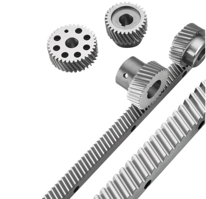 High precision miniature rack and pinion with one edge teeth