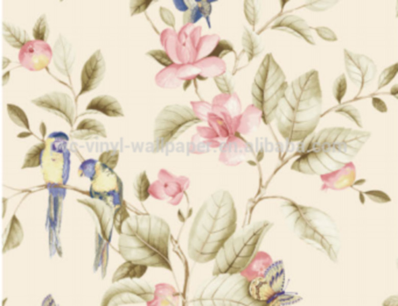 Rich pattern big flower strip pvc vinyl wallpaper