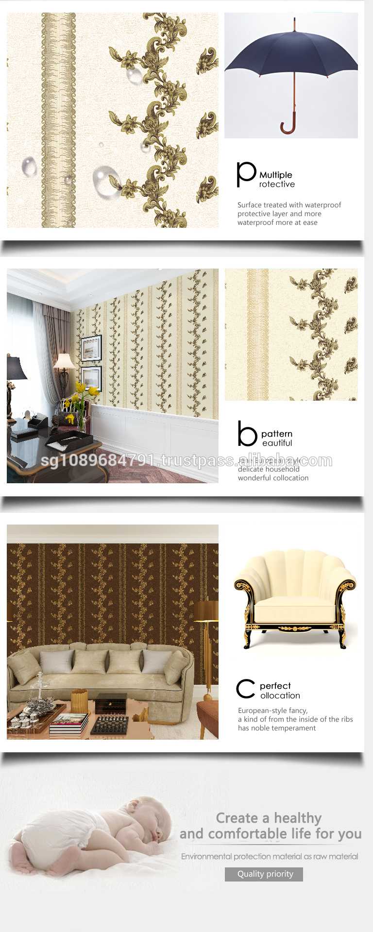 latest deep embossed arabic wallpaper special design