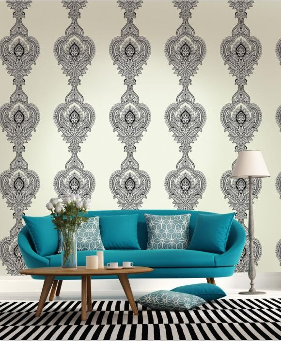 beautiful peacock and flower pattern design flocking wallpaper HTB1qG81vA9WBuNjSspeq6yz5VXan