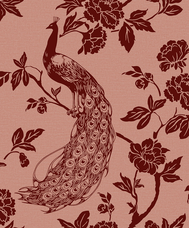 beautiful peacock and flower pattern design flocking wallpaper