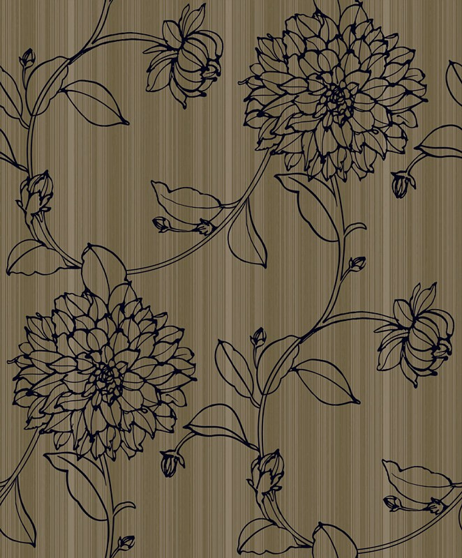 beautiful peacock and flower pattern design flocking wallpaper Hc219582446bf48febf008e0ebcb7b74bK