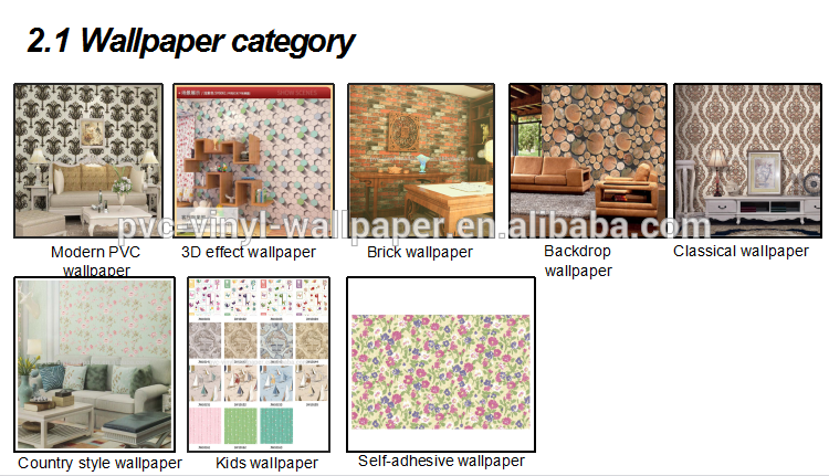 3D pvc washable vinyl wallpaper for decoration