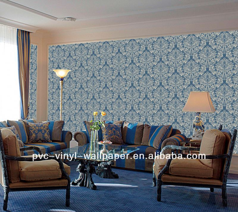 pvc embossed decorative commercial Tapeta damask wallpaper randig tapet
